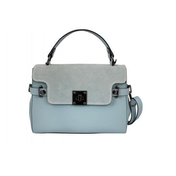 Дамска чанта от естествена кожа цвят светло син