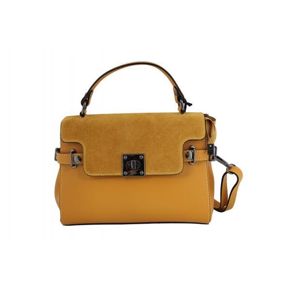 Дамска чанта от естествена кожа цвят горчица