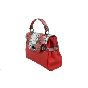 Дамска чанта от естествена кожа цвят червен с животински принт