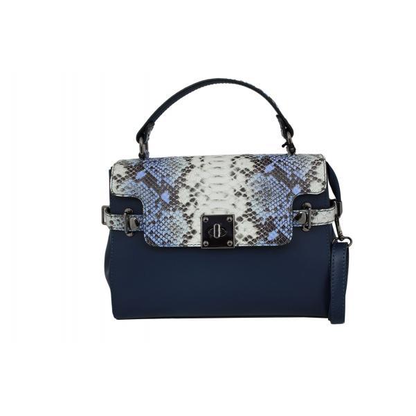 Дамска чанта от естествена кожа цвят тъмно син с животински принт