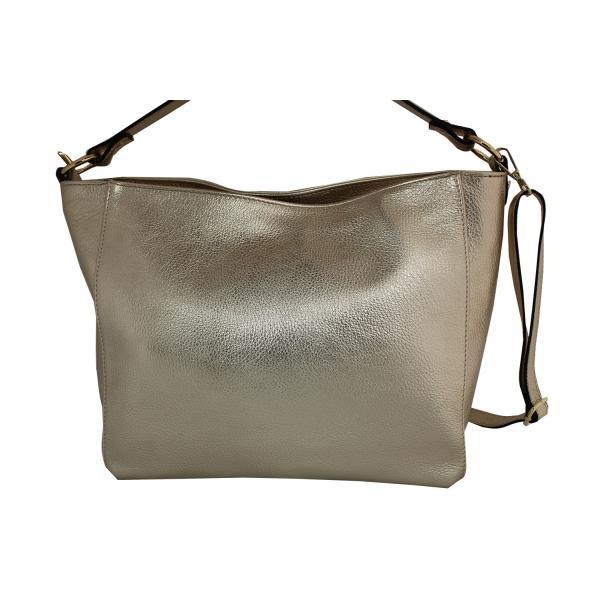 Дамска чанта от естествена кожа цвят злато