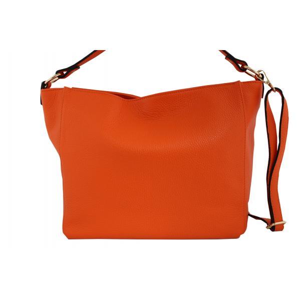 Дамска чанта от естествена кожа цвят портокал
