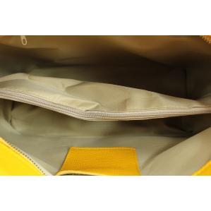 Дамска чанта от естествена кожа цвят жълт