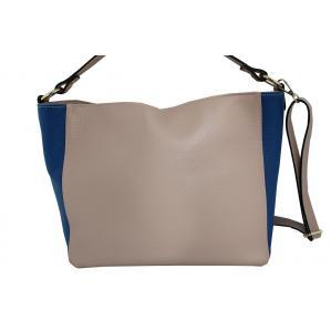 Дамска чанта от естествена кожа основен цвят пудра,комбиниран с кралско синьо