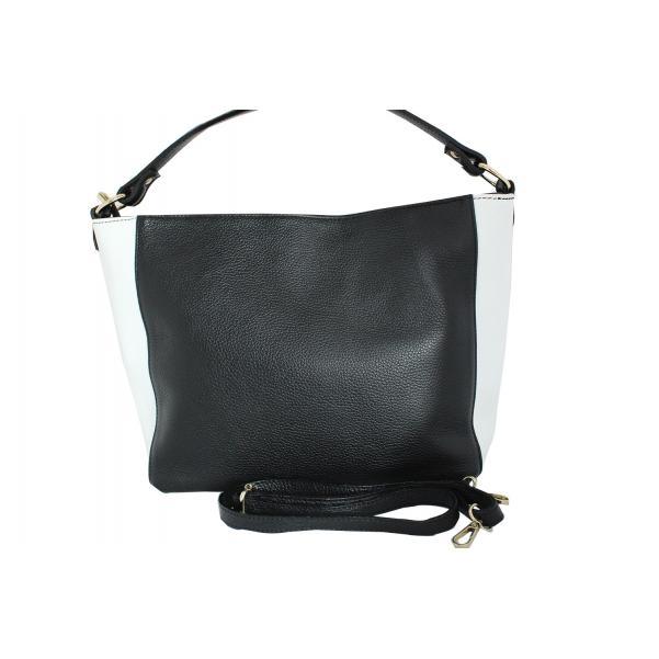 Дамска чанта от естествена кожа основен цвят черен,комбиниран с бяло