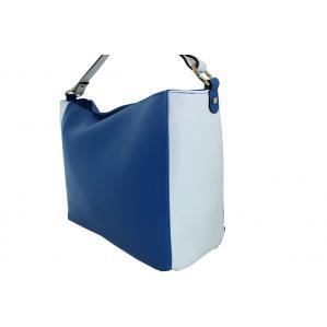 Дамска чанта от естествена кожа основен цвят кралско синьо,комбиниран с бяло