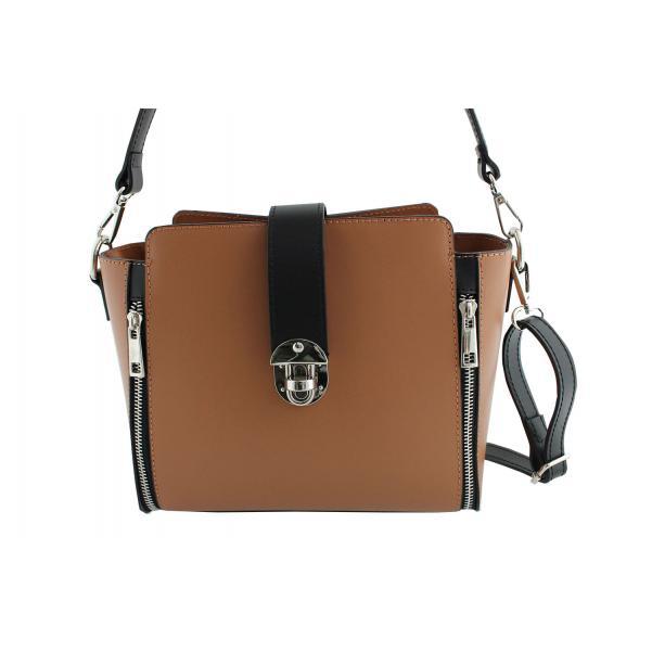 Дамска чанта от естествена кожа цвят кафяво