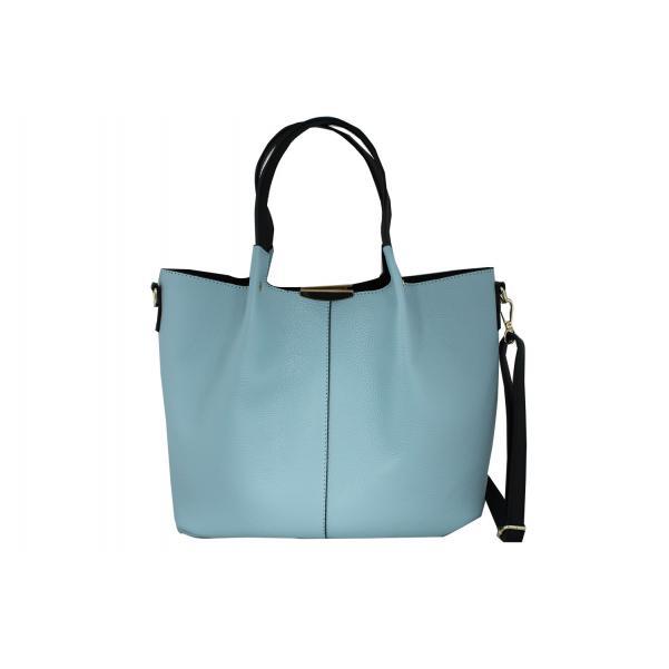 Дамска чанта от естествена кожа цвят светло синьо,комбиниран с черни дръжки