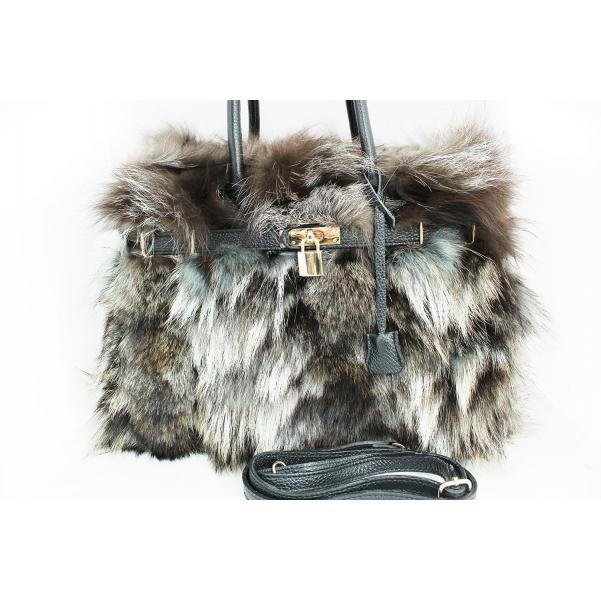 Дамска чанта от естествена кожа и естествен косъм от лисица