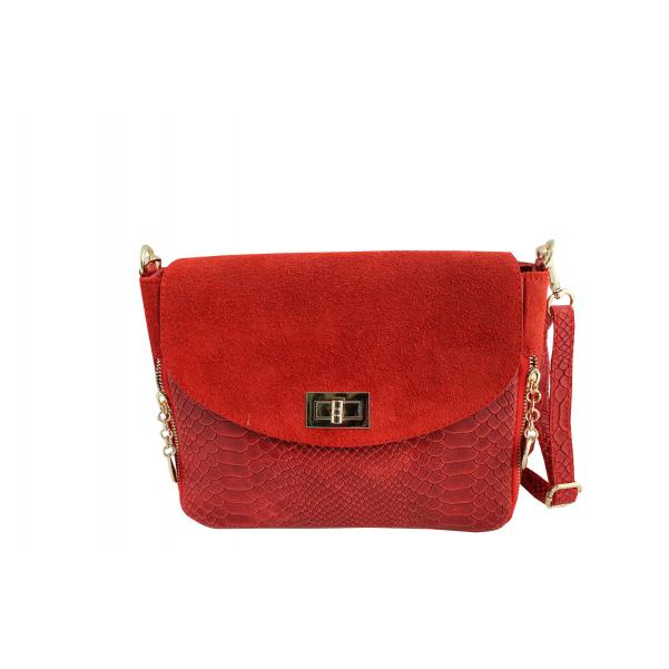 Дамска чанта от естествена кожа цвят червен