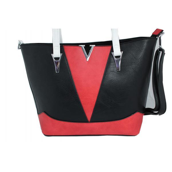 Дамска чанта от еко кожа цвят черен комбиниран с червено и бяло