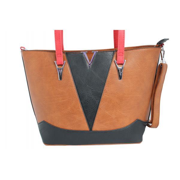 Дамска чанта от еко кожа цвят кафяв комбиниран с черно и червено