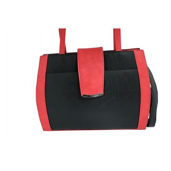 Дамска чанта от еко кожа основен цвят черен,комбиниран с червено