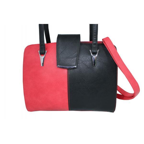 Дамска чанта от еко кожа основен цвят червен,комбиниран с черно