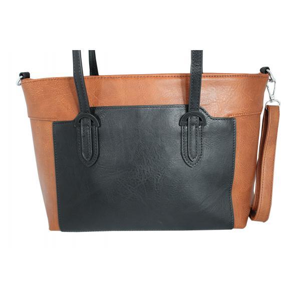 Дамска чанта от еко кожа основен цвят кафяв,комбиниран с черно
