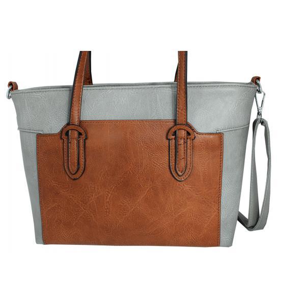 Дамска чанта от еко кожа основен цвят сив,комбиниран с кафяво