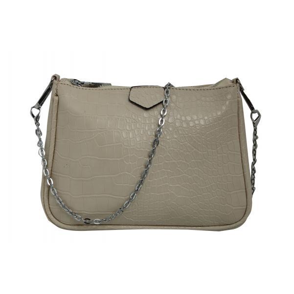 Дамска Чанта от Еко Кожа цвят млечно сиво