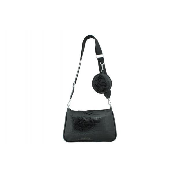 Дамска Чанта от Еко Кожа цвят черен плюс допълнение модерно портмоне