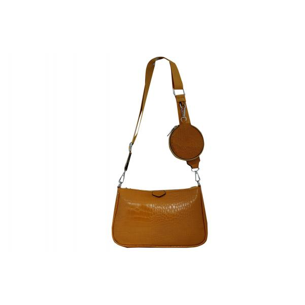 Дамска Чанта от Еко Кожа цвят горчица плюс допълнение модерно портмоне
