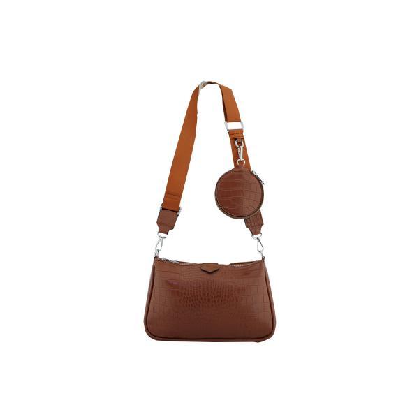 Дамска Чанта от Еко Кожа цвят кафяв плюс допълнение модерно портмоне