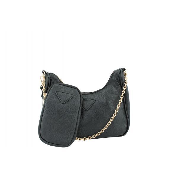 Дамска Чанта от Еко Кожа цвят черен плюс подвижно портмоне с цип