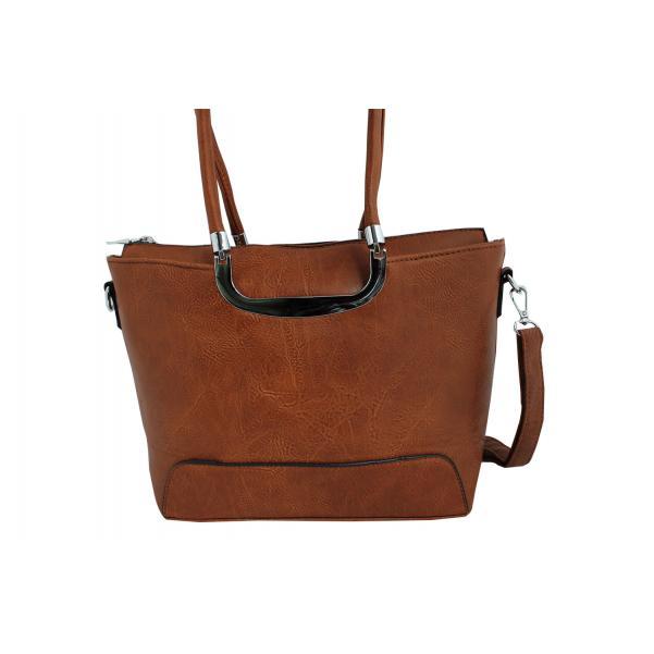 Дамска чанта от еко кожа цвят кафяв