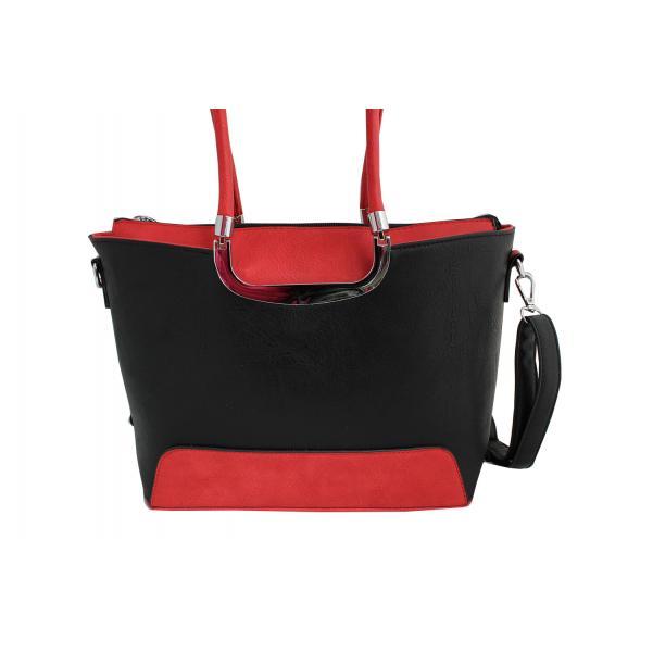 Дамска чанта от еко кожа цвят черен комбиниран с червено