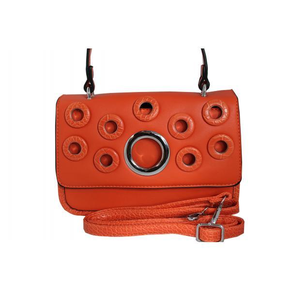 Дамска чанта от еко кожа цвят оранжев