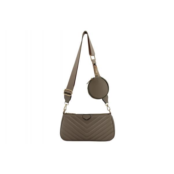 Дамска Чанта от Еко Кожа цвят капучино плюс подвижно портмоне