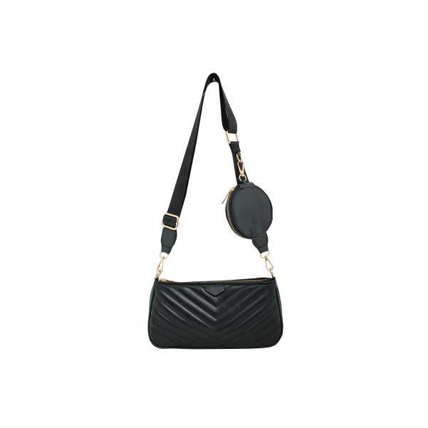 Дамска Чанта от Еко Кожа цвят черен плюс подвижно портмоне