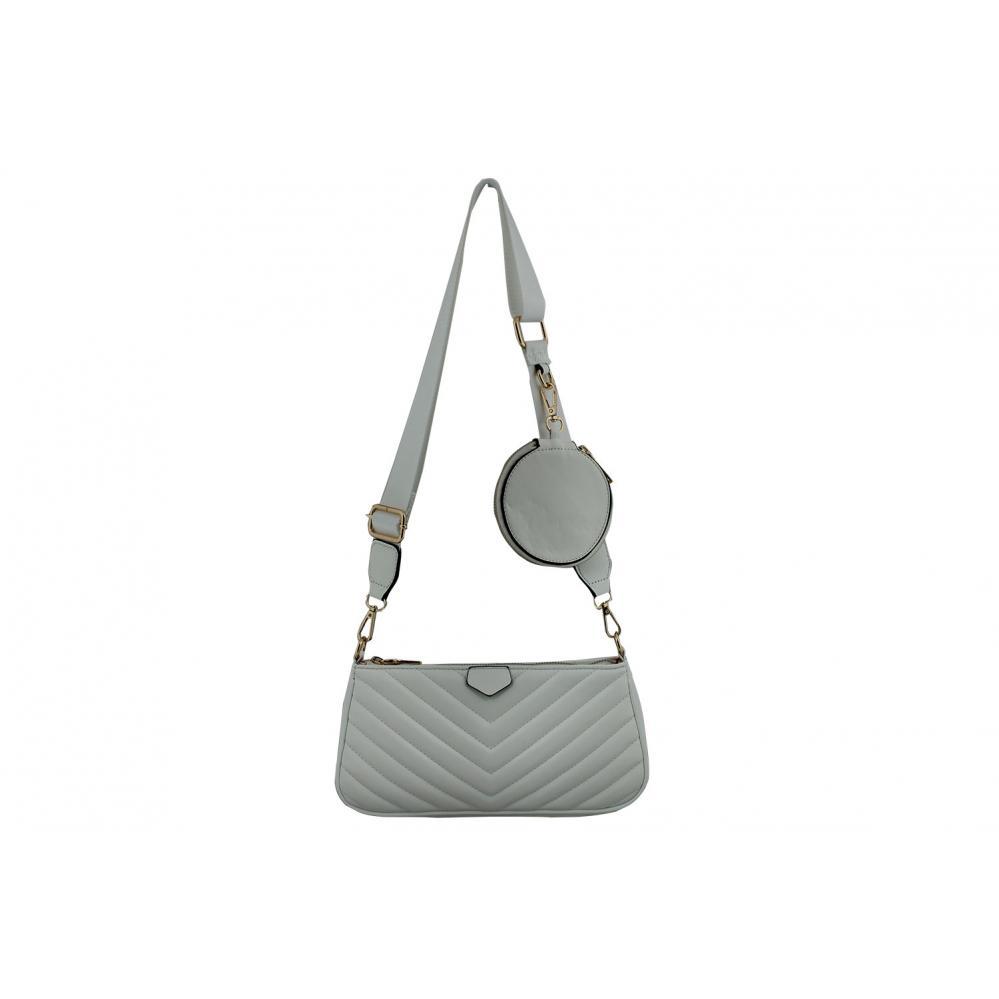 Дамска Чанта от Еко Кожа цвят бял плюс подвижно портмоне