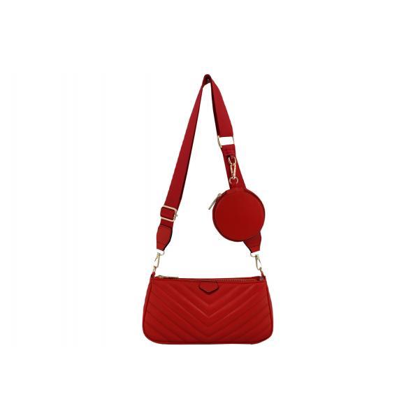 Дамска Чанта от Еко Кожа цвят червен плюс подвижно портмоне