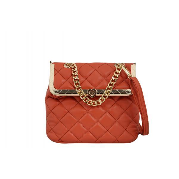 Дамска Чанта от Еко Кожа цвят керемидено оранжево