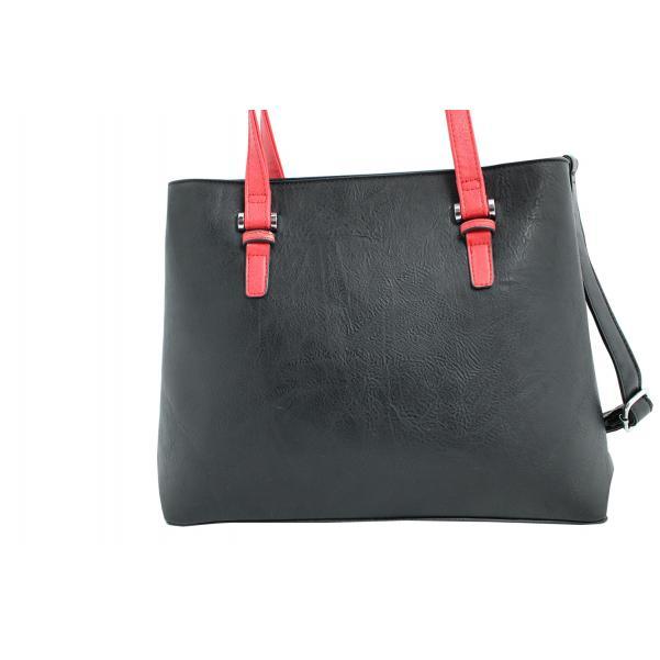 Дамска чанта от еко кожа основен цвят черен, комбиниран с червени дръжки