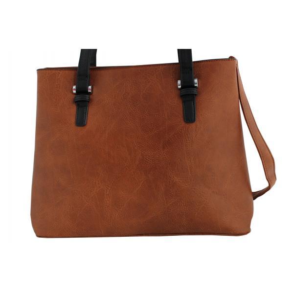 Дамска чанта от еко кожа основен цвят кафяв, комбиниран с черни дръжки