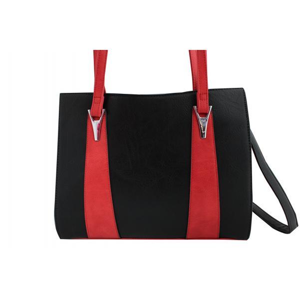Дамска чанта от еко кожа основен цвят черен, комбиниран с червено