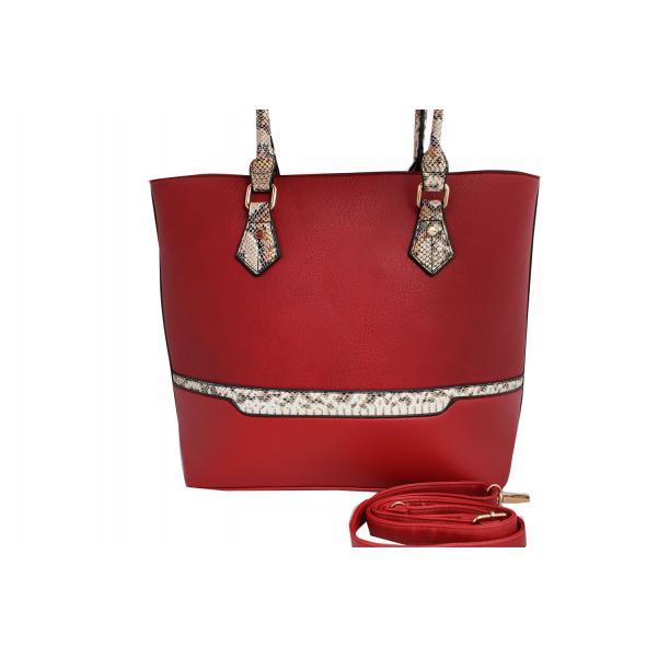 Дамска чанта от еко кожа цвят червен, комбиниран с животински принт