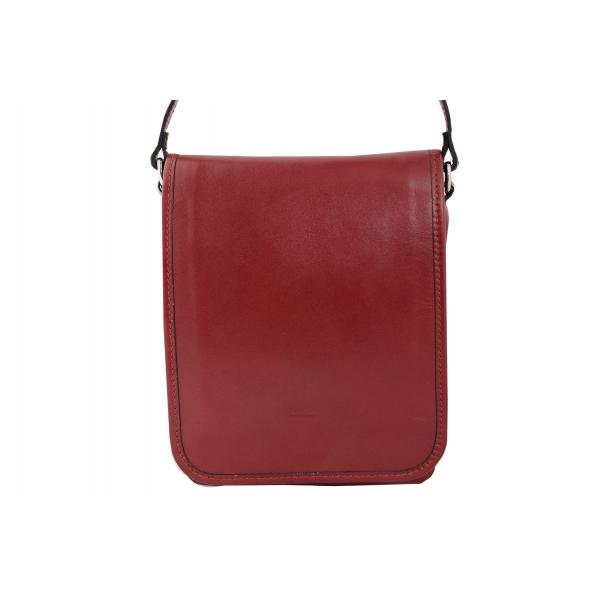 Мъжка чанта от естествена кожа цвят бордо