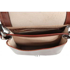 Мъжка чанта от естествена кожа цвят кафяв