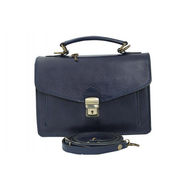 Мъжка чанта от естествена кожа цвят тъмно син