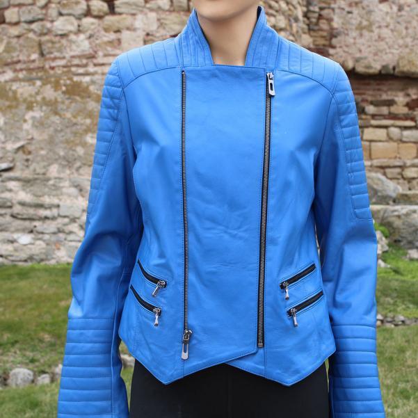 Дамско Яке от Агнешка Кожа цвят кралско синьо