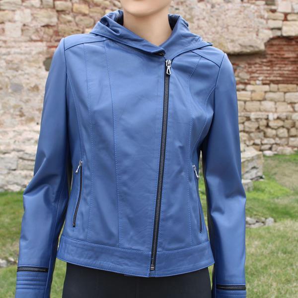 Дамско яке от агнешка кожа цвят син