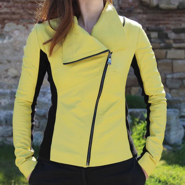 Дамско яке от Агнешка кожа цвят лимонено жълто