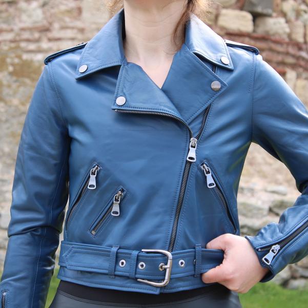 Дамско яке от Агнешка кожа цвят тъмно син