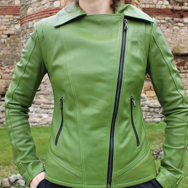 Дамско кожено яке от Агнешка напа цвят зелен