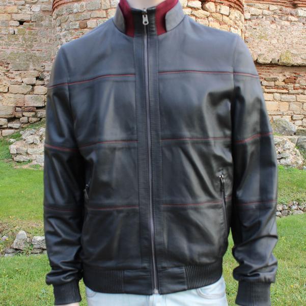 Мъжко двулицево кожено яке цвят черен/бордо