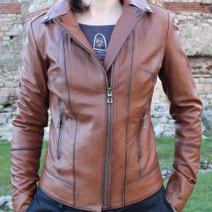 Дамско яке от агнешка кожа цвят кафяв