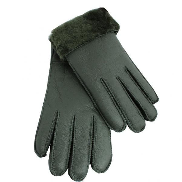 Дамски ръкавици от естествена агнешка вълна цвят маслено зелено