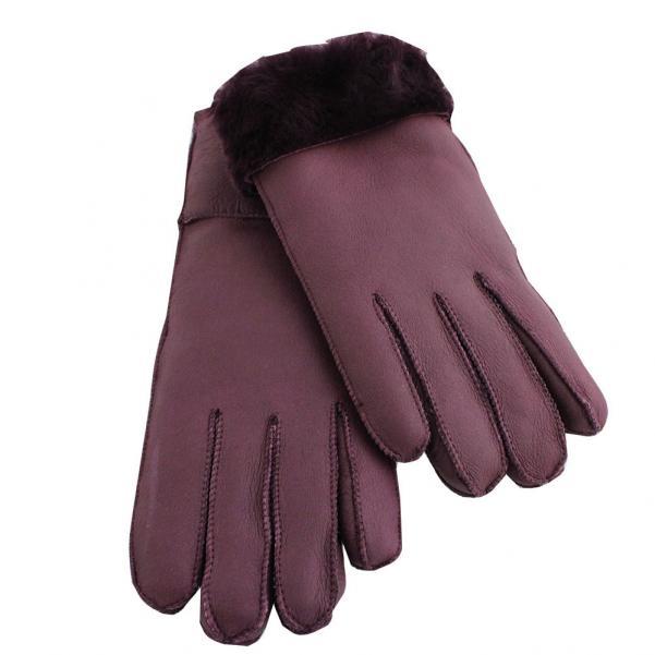 Дамски ръкавици от естествена агнешка вълна цвят марсала