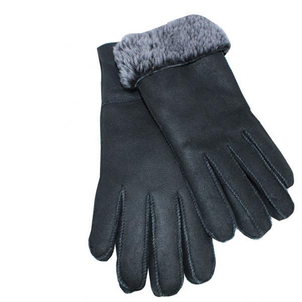 Дамски ръкавици от естествена агнешка вълна цвят черен